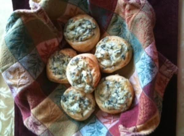 Cheesy Spinach Artichoke Topped French Rolls Recipe