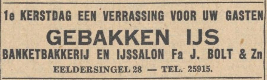 advertentie gebakken ijs bakkerij Bolt (1948)