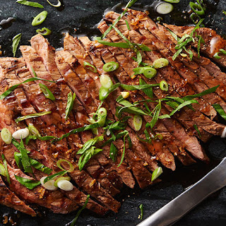 Grilled Flank Steak with Maple Soy Glaze.