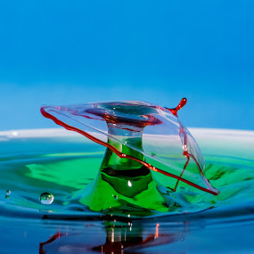 Tip the hat to you sir. by Steve Kazemir - Abstract Water Drops & Splashes ( drop, red, macro, green, double, timing, water, splash )