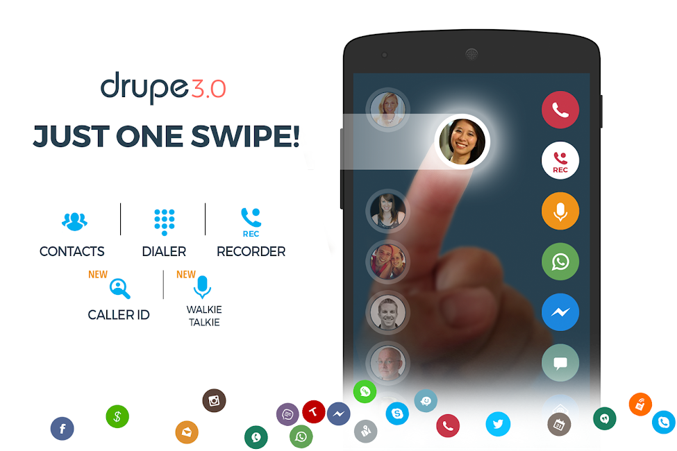 #1. Contacts Phone Dialer: drupe (Android)