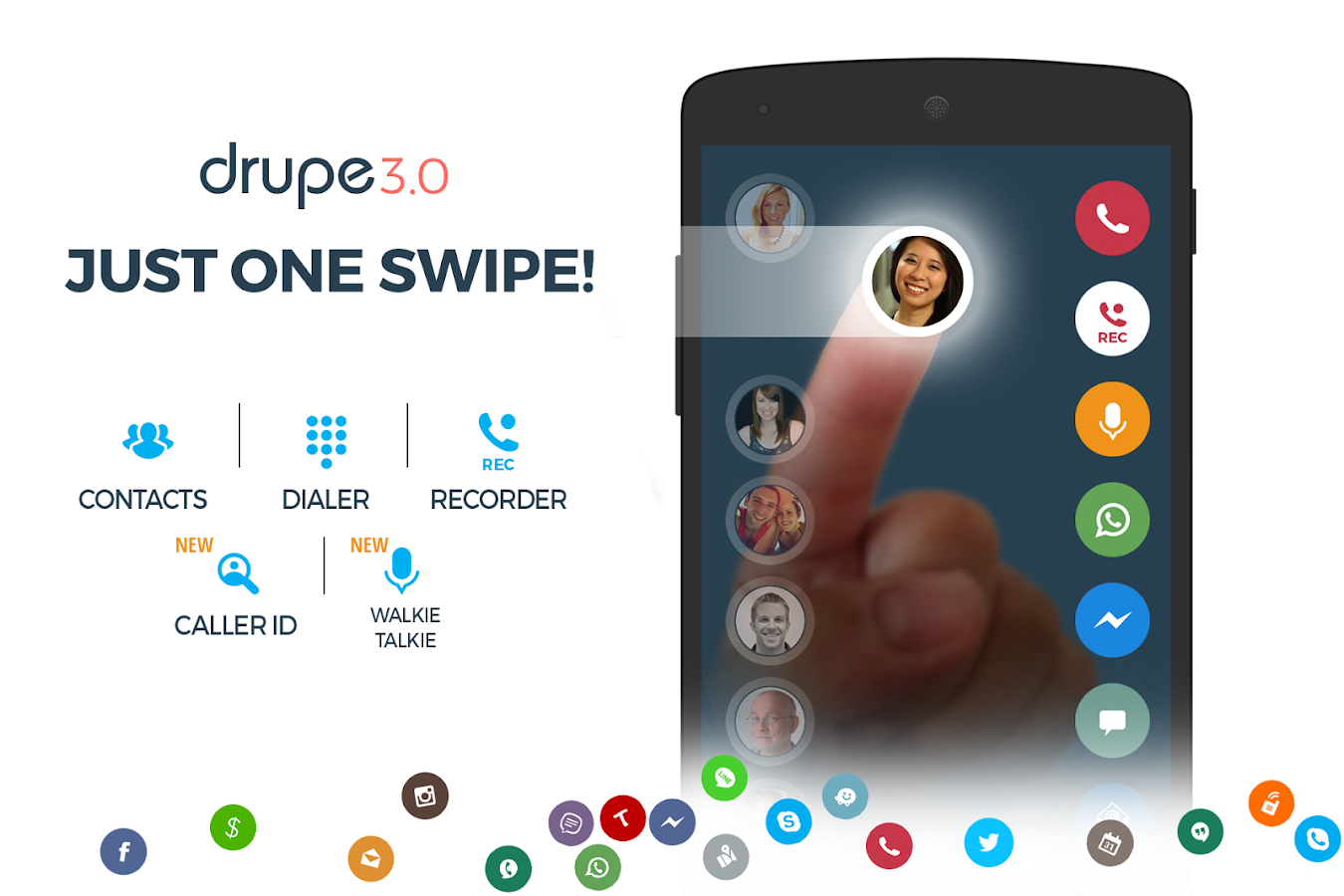 Contacts Phone Dialer: drupe- screenshot