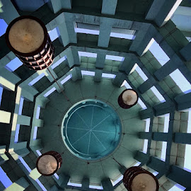Looking up at the ceiling i.e. underside of roof by Janette Ho - Abstract Patterns