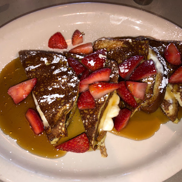 Cream Cheese Stuffed French Toast with Strawberries!  (Wish I'd snapped a pic before she doused it with syrup!)