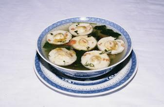 Photo: 11066 鎮江/浮王斎/料理/華厳月色/スープに浮かぶ目玉焼き風のものは大豆製。華厳閣にちなんで命名された。