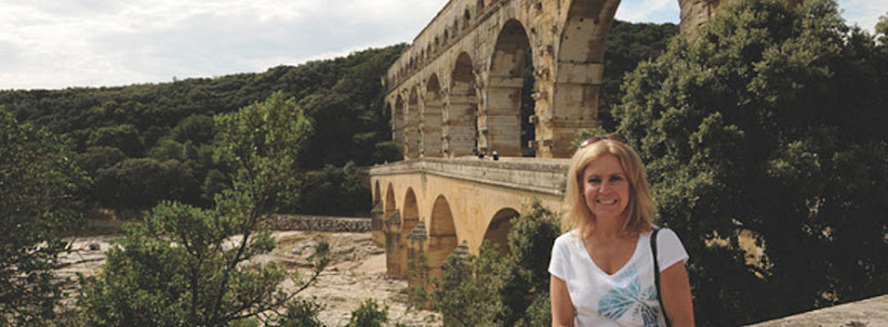 At  Pont du Gard, an ancient aquaduct system in Vers-Pont-du-Gard in the South of France.
