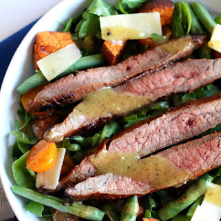 Skirt Steak Salad with Sweet Potatoes, Tomatoes, and Green Beans.