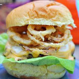 Bacon Cheddar Ranch Burgers with Onion Strings