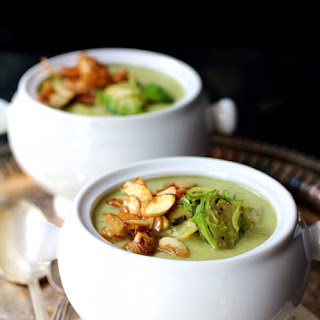 Cream of Brussels Sprout Soup with Butter and Turbinado Toasted Almonds.