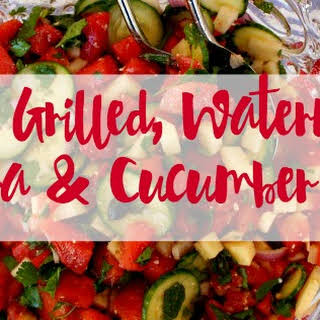Spicy, Grilled, Watermelon, Jicama, and Cucumber Salad.