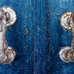 The Blue Door by Ana Paula Filipe - Artistic Objects Antiques ( door, blue, metal, antique, close )