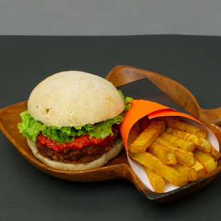 Vegan Kidney Beans Burger with Sweet Potatoes Fries.