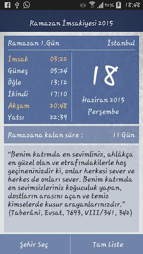 Ramazan İmsakiyesi 2015