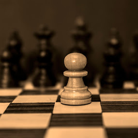 One Against All by Danny Andreini - Artistic Objects Still Life ( pieces, black and white, board game, chess pieces, chess, artistic objects, game )