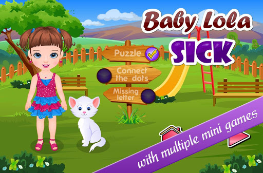 付出爱和关怀,可爱的女婴萝拉和她的宠物,玩有趣的小游戏!