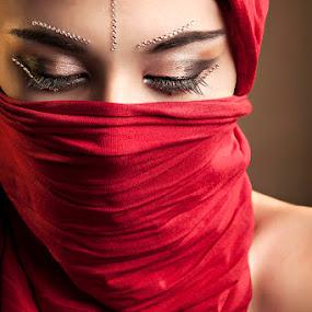 Red by Jon de Guzman Jr - People Portraits of Women