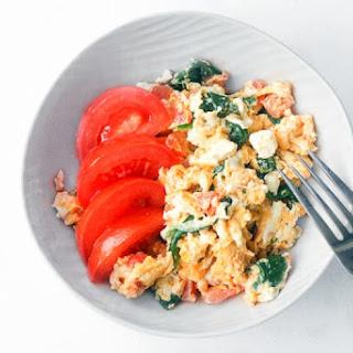 Mediterranean Scrambled Eggs with Spinach, Tomato, and Feta Recipe