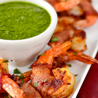 Bacon-Wrapped BBQ Shrimp with Chimichurri Dipping Sauce.