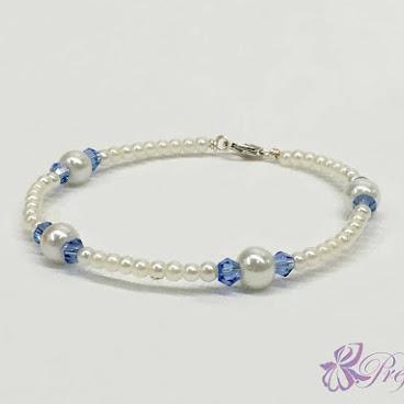 [PLC022] 簡約風珍珠水晶手鐲 (深藍)