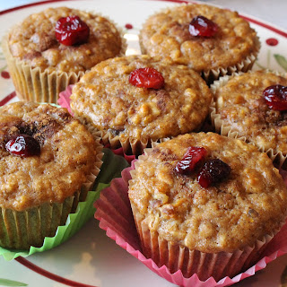 Fresh Orange and Dried Cranberry Oatmeal Muffins with Walnuts
