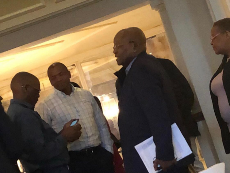 ANC secretary-general Ace Magashule, former North West premier Supra Mahumapelo, former president Jacob Zuma and ANC Women's League secretary-general Meokgo Matuba at the Maharani hotel. Picture: Supplied by Sunday Times
