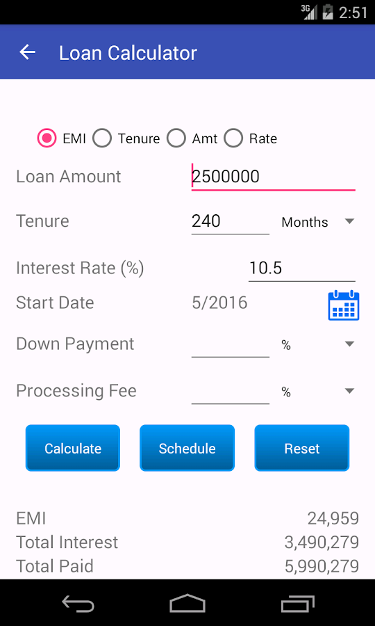 Loan EMI Calculator- screenshot