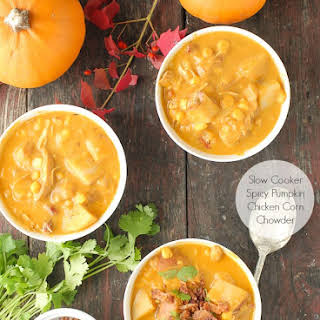 Slow Cooker Spicy Pumpkin Chicken Corn Chowder.