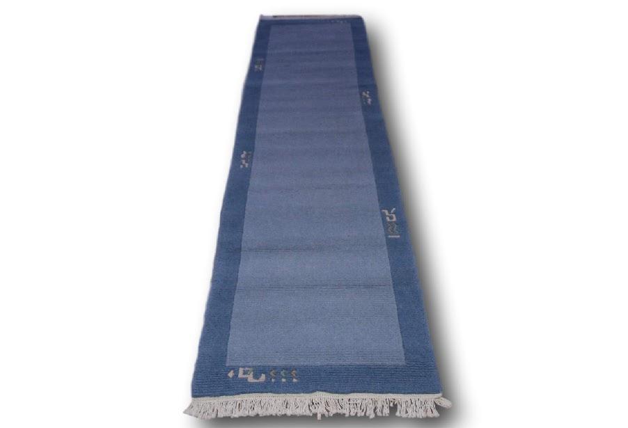 elegancki zielony nowoczesny dywan ręcznie tkany chodnik nepalski 80x300
