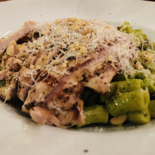 Basil pesto with grilled chicken, and gluten free pasta.
