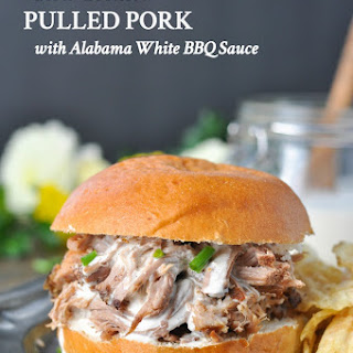 Slow Cooker Pulled Pork with Alabama White Barbecue Sauce.