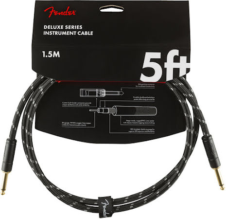 Fender Deluxe Series Instrument Cable, Straight-Straight, 5ft, Black Tweed