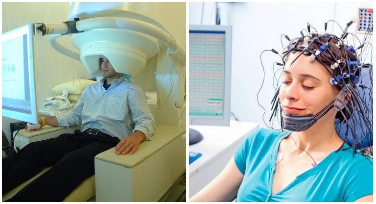 Imagen: MEG (izquierda) y EEG (derecha). Y no, aunque pueda parecerlo... ¡no están en un salón de belleza!