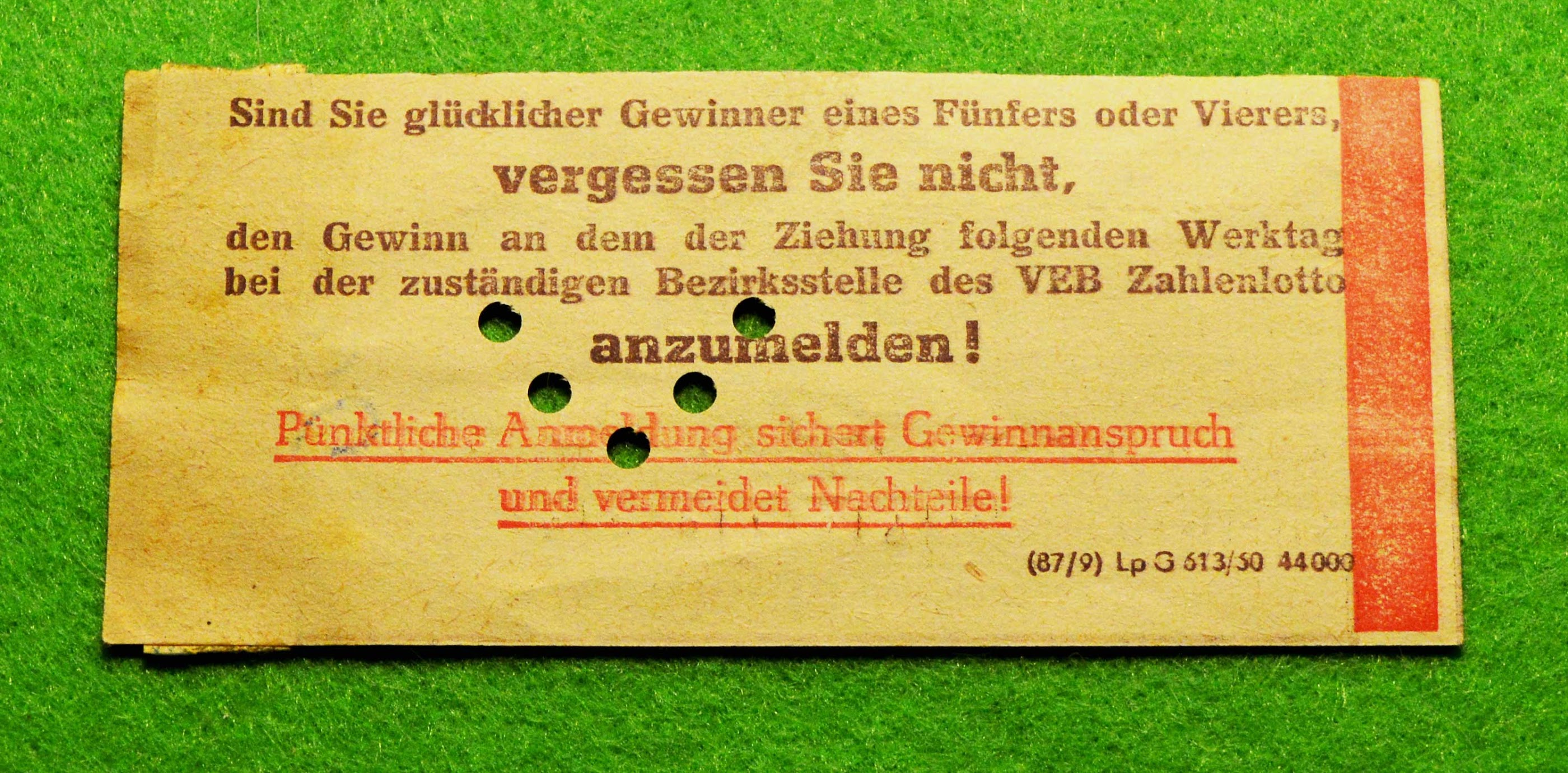 DDR - Lottoschein - Zahlenlotto