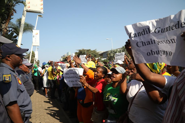 Demonstrators outside the ANC provincial office carrying placards in supports of eThekwini mayor Zandile Gumede.