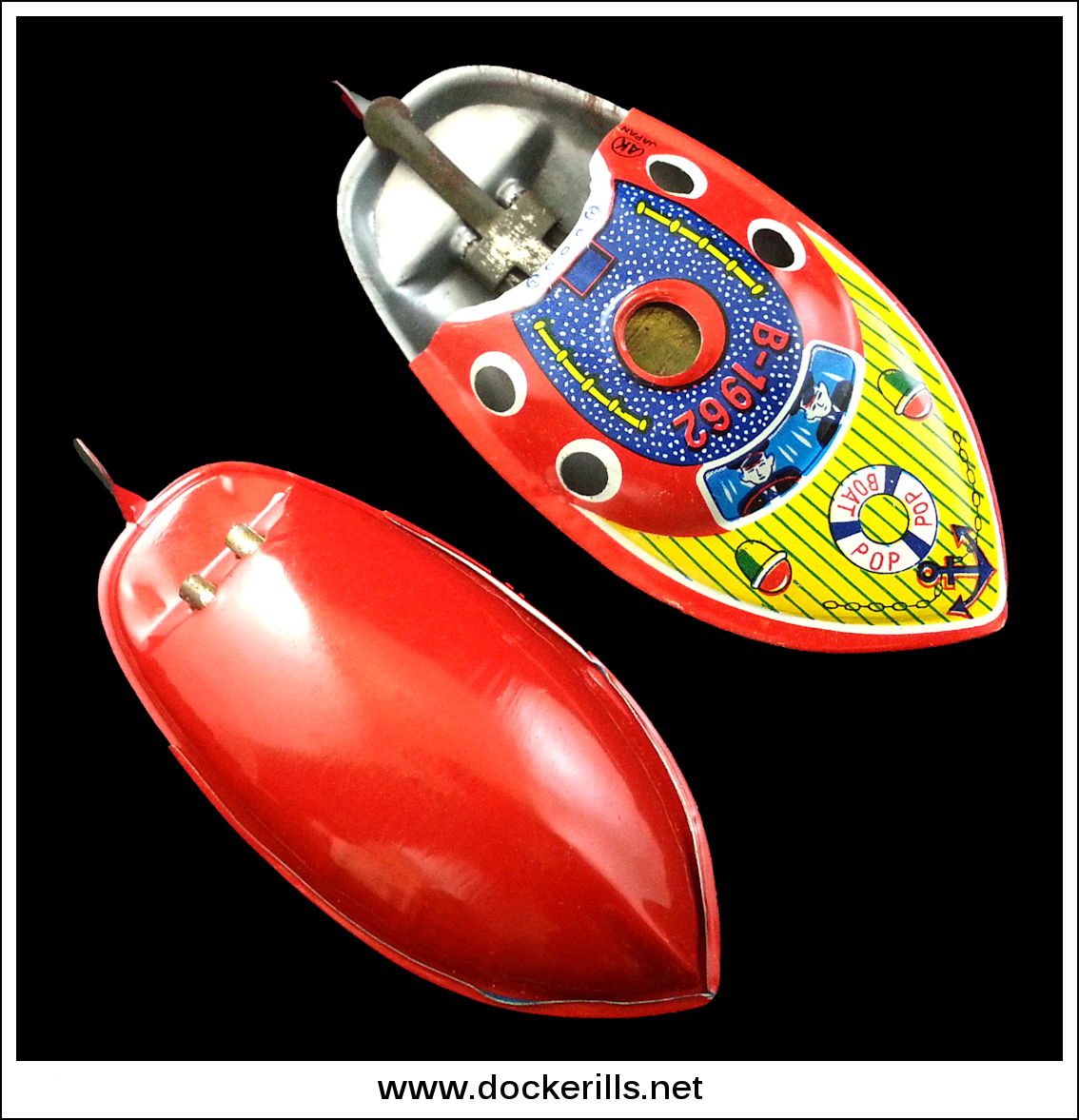 "Photo: AK-Circle (Unknown Company) ""Pop Pop Boat B-1962"", Japan.  3.75 Inches long approx.   These came bagged with header cards rather than boxed.  Visit my blog - Collecting Tin Toys at  http://tinplatetoys.blogspot.co.uk"