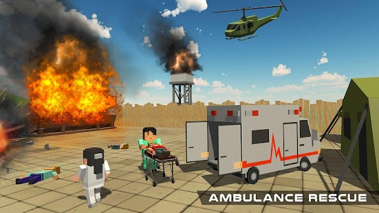 Blocky US Fire Truck & Army Ambulance Rescue Game - náhled
