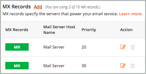 Only the Yahoo! Mail Server records are in the MX table.