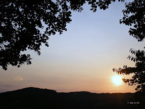 Photo: This evening sunset -- or close to it - from the favorite spot in the forest overlooking the village and valley.  There is a small white cloud on the left - seemingly whiter than the rest of the clouds, with a little rainbow color in it as well.  =))  #sunset  #summer2013