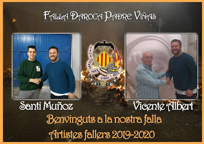 Santi Muñoz y Vicente Albert artistas falleros 2020 de Daroca-Padre Viñas