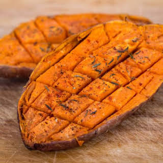 Baked Sweet Potatoes with Cashew Cream.