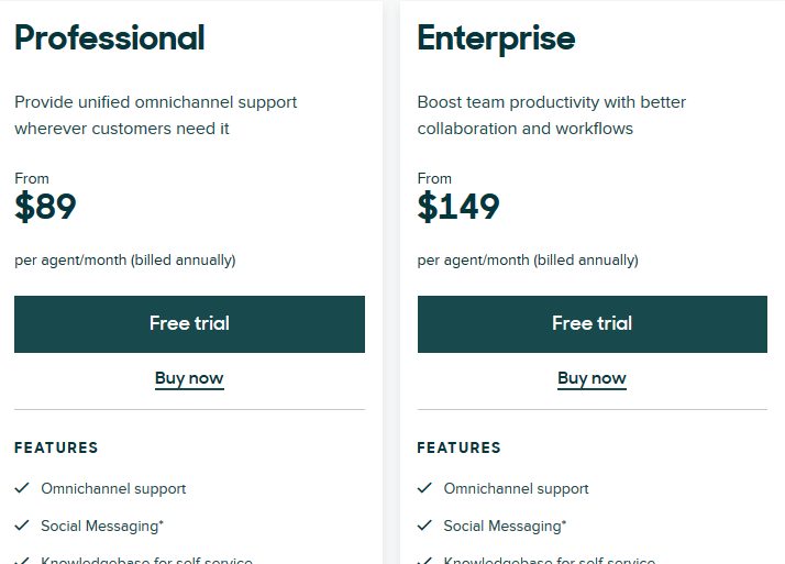 Zendesk Sell Pricing
