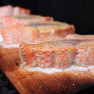 Cedar-Planked Salmon With Mustard Dill Sauce