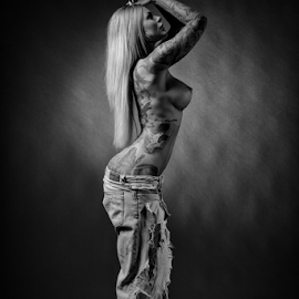 inked by Reto Heiz - Nudes & Boudoir Artistic Nude ( studio, erotic, sexy, nude, black and white, on location, tattoo model, female tattoo model, portrait, sensual )