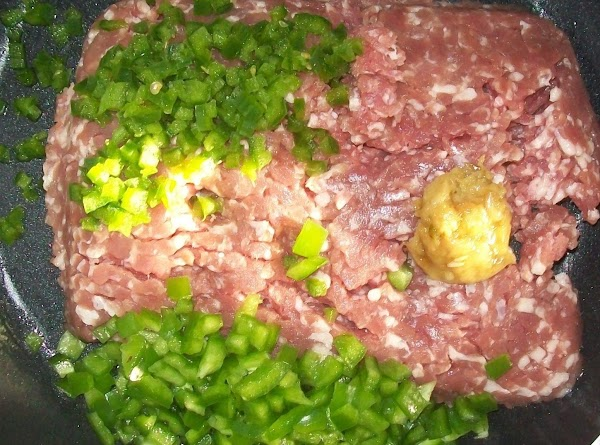 "Fry the ground pork ""in the same pan you cooked the rice in ""in..."