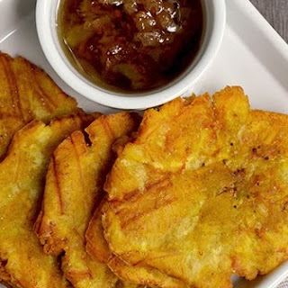 Tostones (Fried Raw Green Plantains) with Mojo Sauce