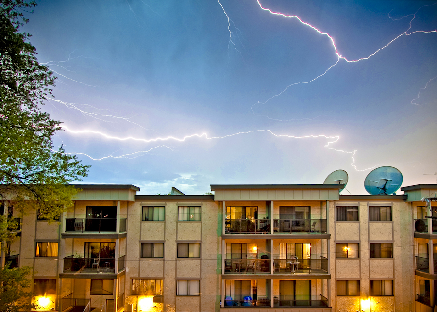 Urban Electrical Storm by CGard Photo - Landscapes Weather ( lightning, chris gardiner photography, electrical storm, kelowna, weather )