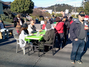 Photo: The block party, in full swing, during the opening celebration (Saturday, December 7, 2013) for the Hidden Garden Steps (16th Avenue, between Kirkham and Lawton streets in San Francisco's Inner Sunset District); Steps supporter/neighborhood resident Sherry Boschert took the lead in organizing the party.  For more information about the Steps, please visit our website (http://hiddengardensteps.org), view links about the project from our Scoopit! site (http://www.scoop.it/t/hidden-garden-steps), or follow our social media presence on Twitter (https://twitter.com/GardenSteps), Facebook (https://www.facebook.com/pages/Hidden-Garden-Steps/288064457924739) and many others.