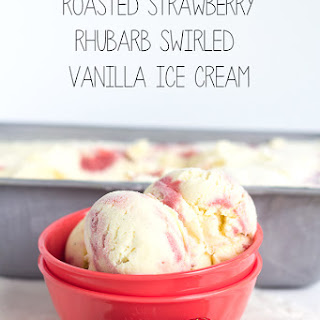 Roasted Strawberry Rhubarb Swirled Vanilla Ice Cream.