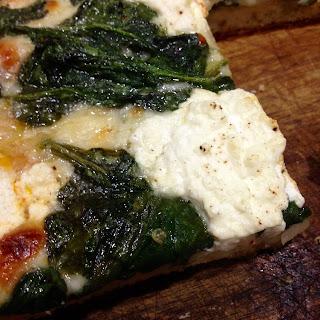 Grandma Pizza with Spinach & Fresh Ricotta