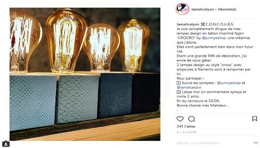 jeu concours instagram Lamalice Lyon et junny lampe en béton